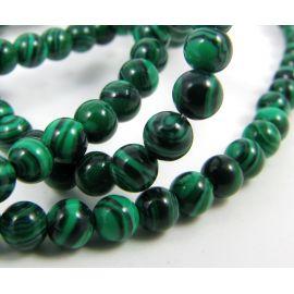 Sintetinio malachito karoliukai žalios spalvos apvalios formos, 4 mm