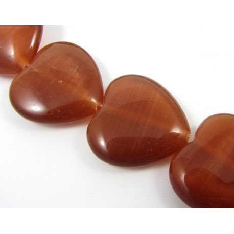 Cat eye beads, brown, heart shaped, 18 mm