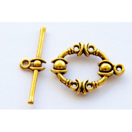 Clasp for jewelry production aged gold color 25mm