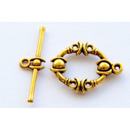 Užsegimas su lazdele grandinėlei, virvutei, pakabukui sendinto aukso spalvos 25mm