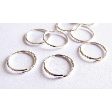 Viengubi žiedeliai skirti papuošalų gamybai sidabro spalvos 10 mm
