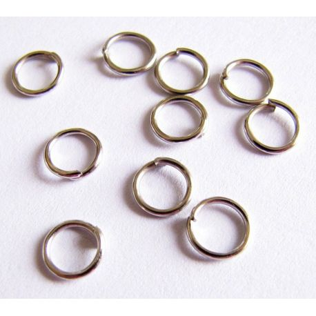Single rings nickel-colored 6 mm