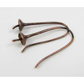 Brass hooks for earrings, 1 pair 27x11 mm