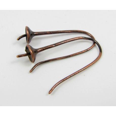 Brass hooks for earrings, aged copper, size 27x11 mm
