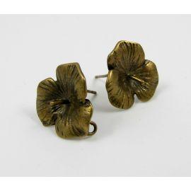 Brass hooks for earrings, 1 pair 18x16 mm