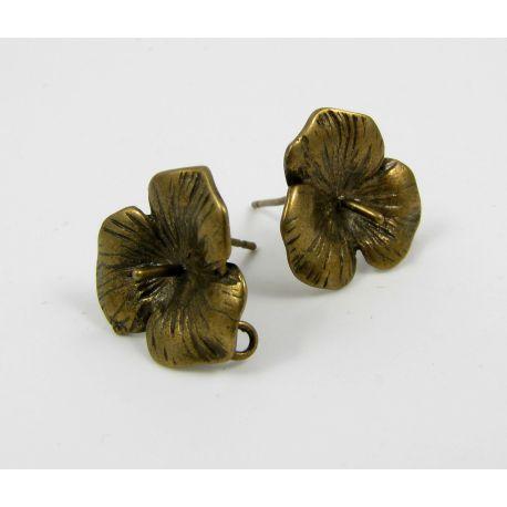 Brass hooks for earrings, bronze, size 18z16 mm