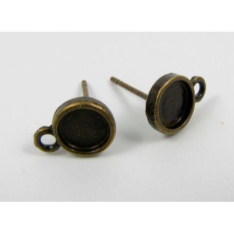 Hooks - earrings, aged bronze, size 13x8 mm