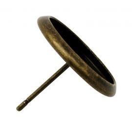 Konksud kõrvarõngadeks - kabošoon, vananenud pronks, suurus 14x12 mm