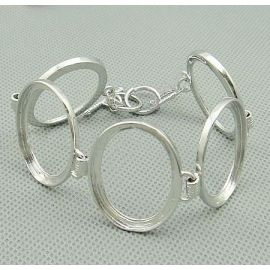 Brass workpiece for bracelet 5 pcs, silver color, size app about 18 cm