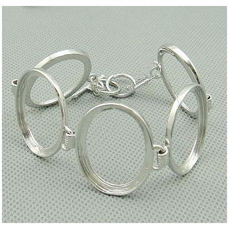 Brass workpiece for bracelet 5 pcs, silver color, size app about 18 cm