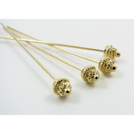 Decorative pin, gold, 53mm long, 0.8 mm thick