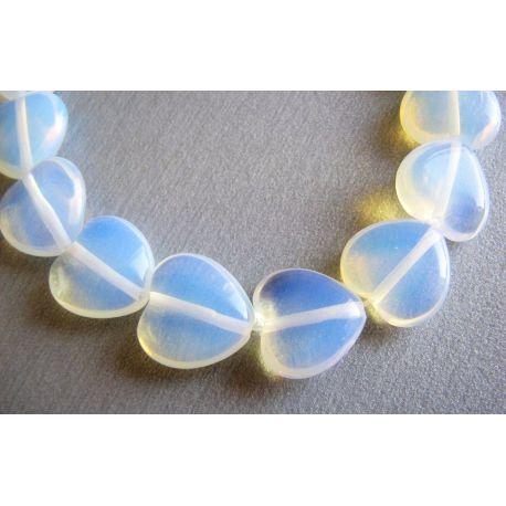 Opalito beads white transparent heart shape 12mm