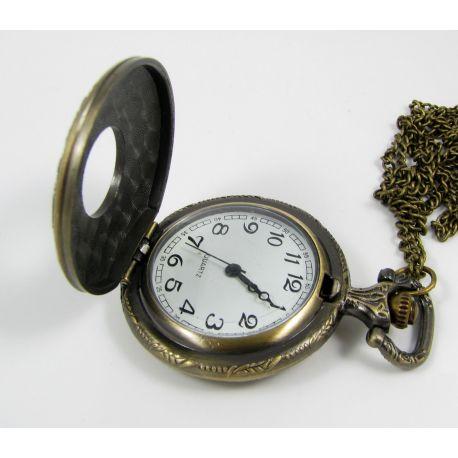 Kišeninis laikrodis, bronzinės spalvos su grandinėle 49x37 mm
