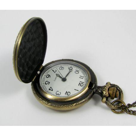 """Kišeninis laikrodukas """"Rožė"""", bronzinės spalvos su grandinėle 49x37 mm"""