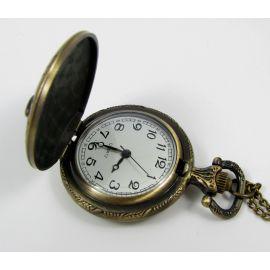 """Kišeninis laikrodukas """"Pelėda"""", bronzinės spalvos su grandinėle 49x37 mm"""
