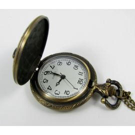 Pocket owl clock, bronze with chain 49x37 mm