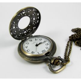 Pocket watch, bronze with chain 49x37 mm
