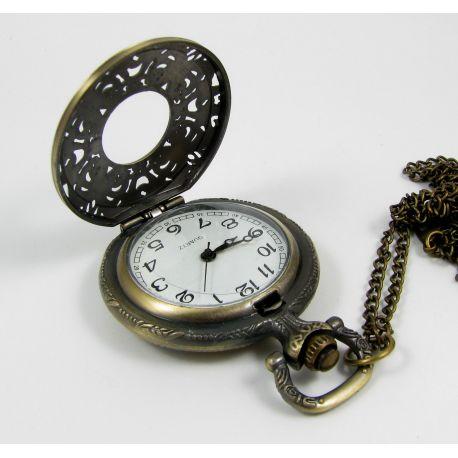 Kišeninis laikrodukas, bronzinės spalvos su grandinėle 49x37 mm