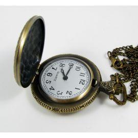 """Kišeninis laikrodis """"Kaukolė"""", sendintos bronzinės spalvos su grandinėle 49x37 mm"""