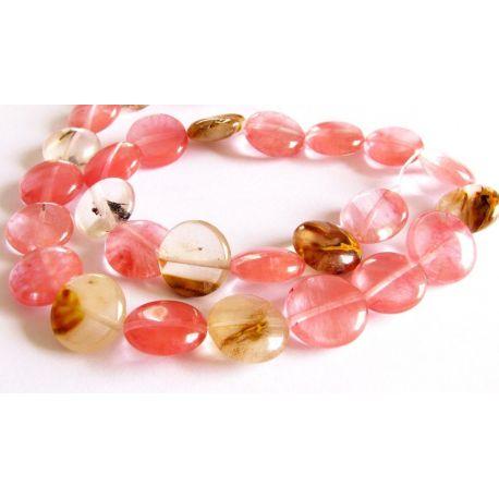 Tourmaline quartz beads pink - white coin shape 14mm