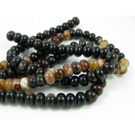 Agate beads, black-yellowish, rondical shape 14x10 mm