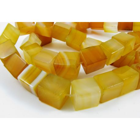 Agate beads, yellow, square shape 10 mm