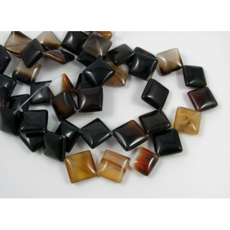 Agate beads, brown-yellow, diamond shape 20x20 mm