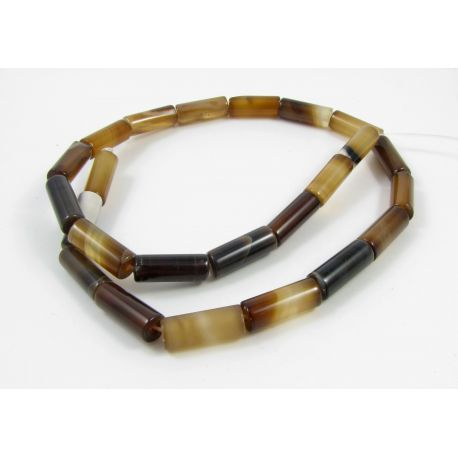 Agate bead thread, brown, brownish, tube shape 16x6 mm