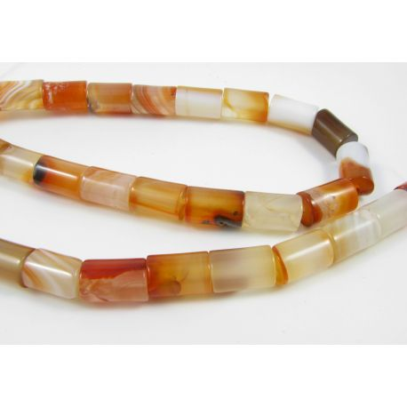 Agate beads, yellowish-orange, tube shape 12x8 mm