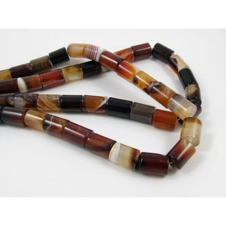 Agate beads, brown-yellow orange, 12-14x9-10 mm