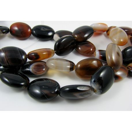 Agate beads, brown, orange, oval 18x12 mm
