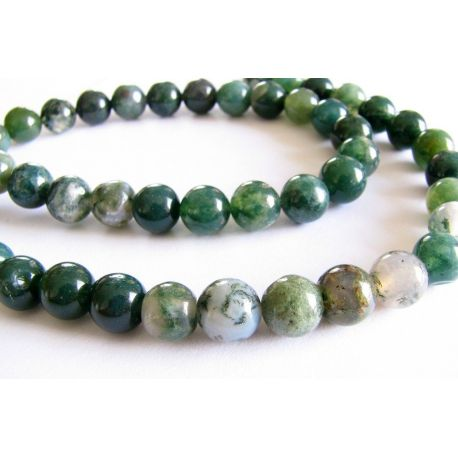 Agate beads dark green round shape 8mm