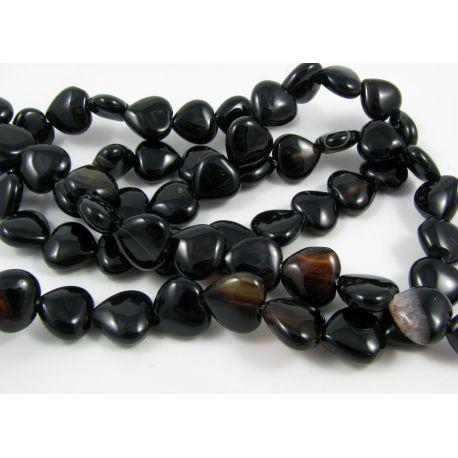 Agate beads, black - brown, heart shape 12 mm