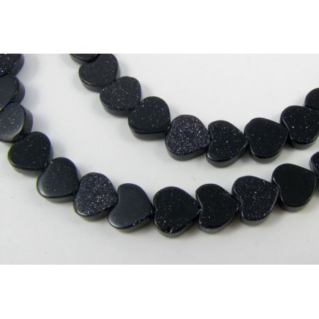 Cairo night beads dark blue, heart shape 8 mm