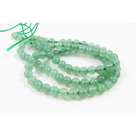 Avantiurino karoliukų gija, šviesiai žalios spalvos, apvalios formos 4 mm