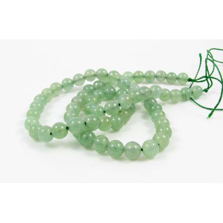 Avantiurin bead thread, light green, round shape 6 mm