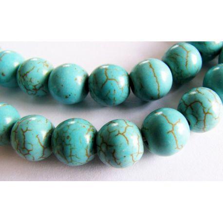 Synthetic turquoise beads greenish-blue round shape 4mm
