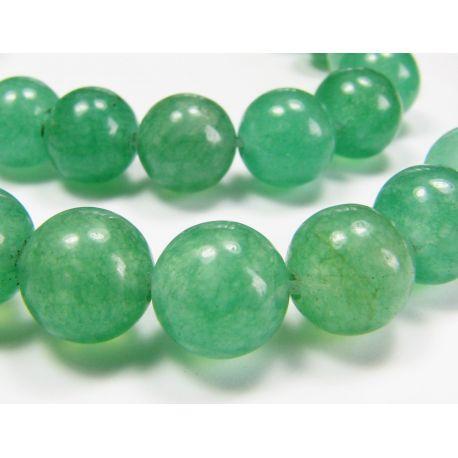 Avantiurine bead thread, light green, round shape 8 mm