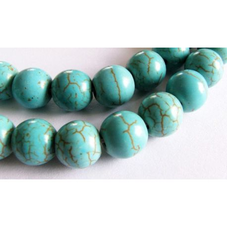 Synthetic turquoise beads greenish-blue round shape 6mm