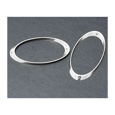 Brass insert - frame, oval, silver color 29x14 mm, 10 pcs.
