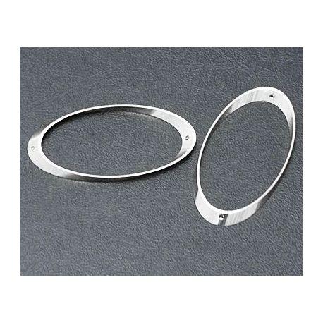 Žalvarinis intarpas - rėmelis, ovalo formos, sidabro spalvos 29x14 mm, 10 vnt.