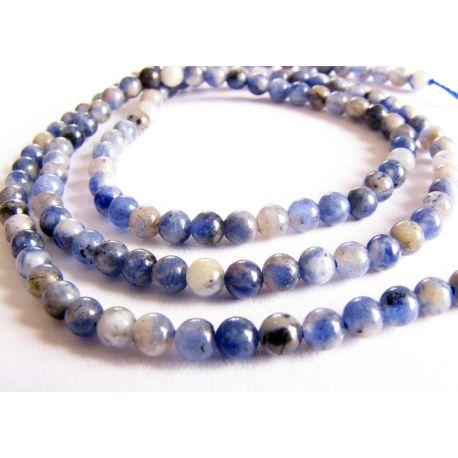 Sodalite beads blue - white - black round shape 3mm