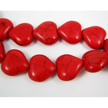 Synthetic turquoise beads, red, shives shaped 17 mm