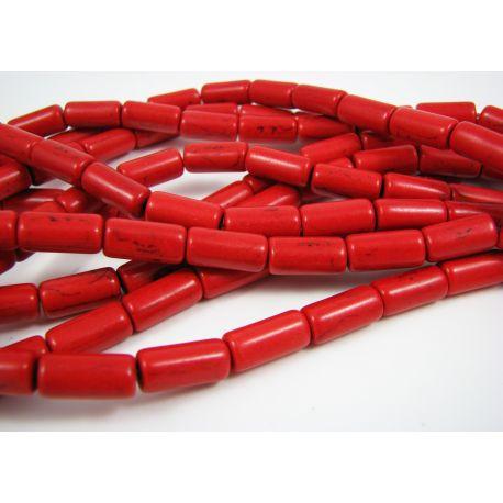 Sintetinio turkio karoliukų gija, raudonos spalvos, vamzdelio formos 13x6 mm