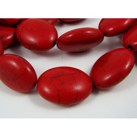 Synthetic turquoise beads, red, oval 19x15 mm