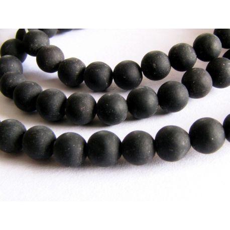 Agato karoliukai juodos spalvos matiniai apvalios formos 4mm