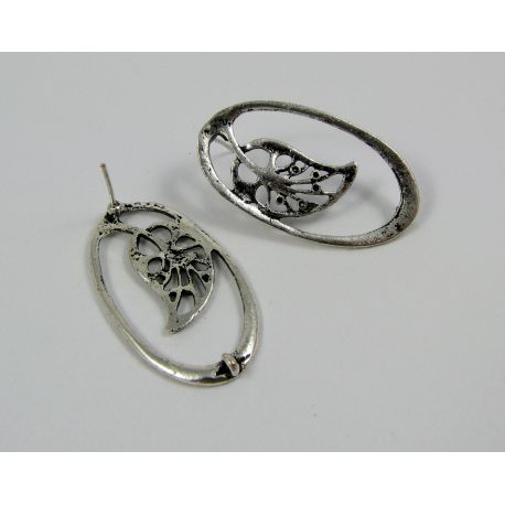 """Earrings """"Leaf"""", aged silver, 34x19 mm size 1 pair"""