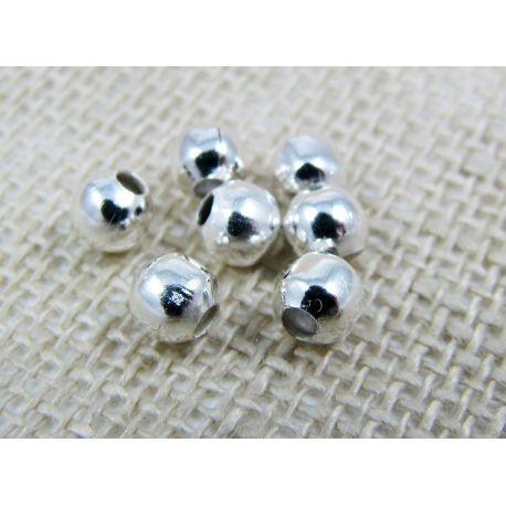 Intarpas, sidabro spalvos, apvalios formos 4 mm ~100 vnt