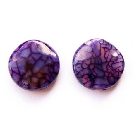 Agato pakabukas violetinės spalvos monetos formos banguotais krašteliais 25x25x6mm