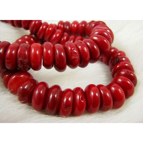 Natural coral bead thread, red, rondal shape, 11-13x5-7 mm